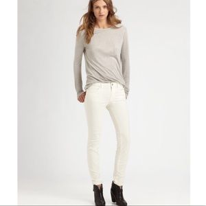 American Eagle White Corduroy Skinny Jeans